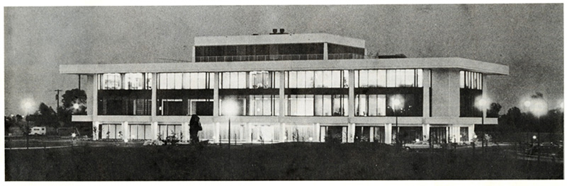 a black and white photo of the Teichert offices