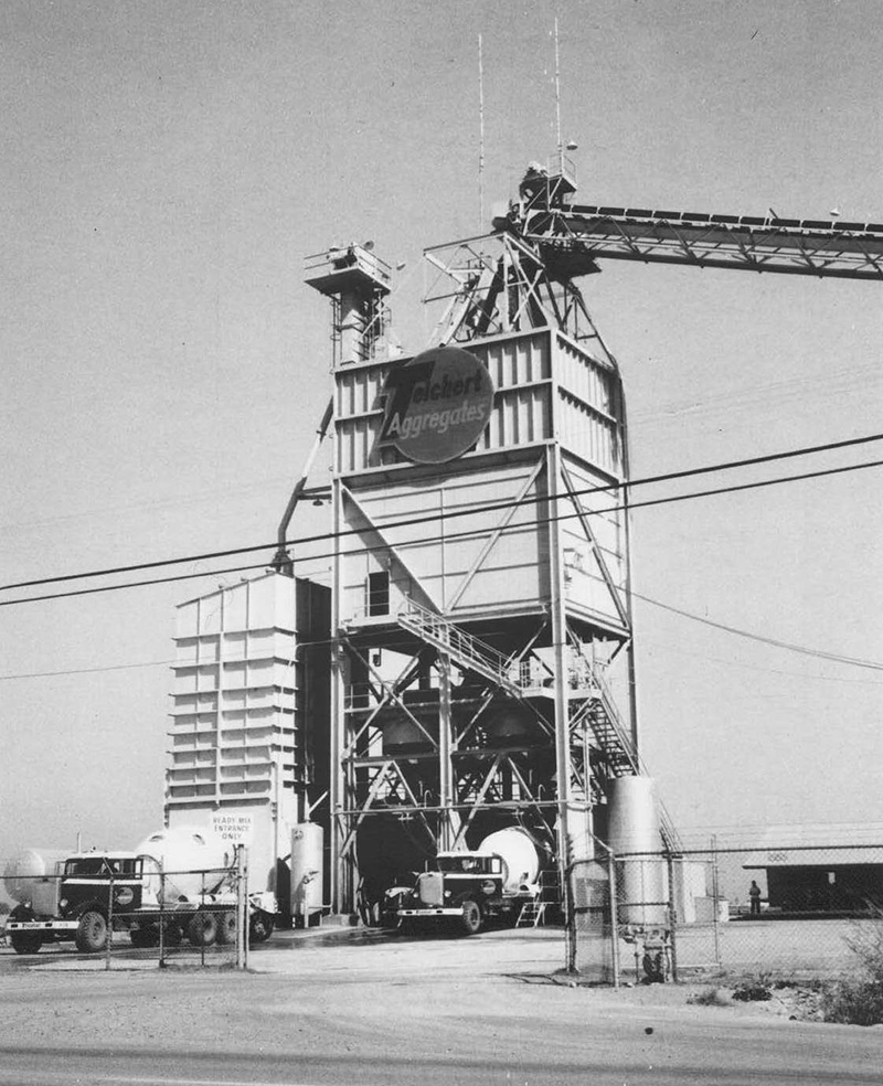 an old black and white photograph of a Teichert job site