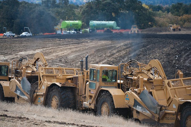 an image of Teichert construction vehicles out at Wallis Ranch doing some work