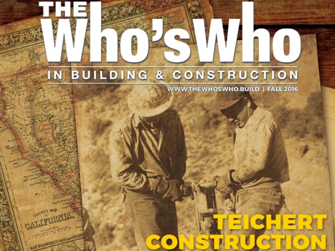 Cover of the Whos Who in Building Construction featuring Teichert Construction