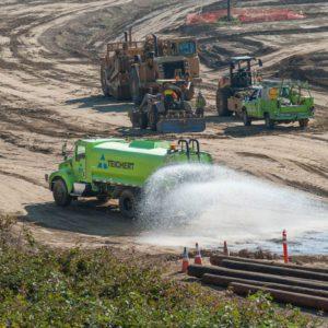 teichert water truck releasing water on job site