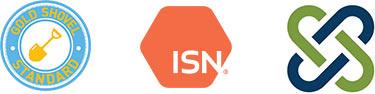 Teichert certification seals for Gold Shovel, ISN Net, and Veriforce and ITS